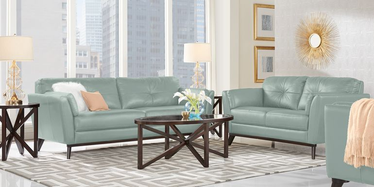 Sofia Vergara Gabriele Spa Blue 2 Pc Leather Living Room