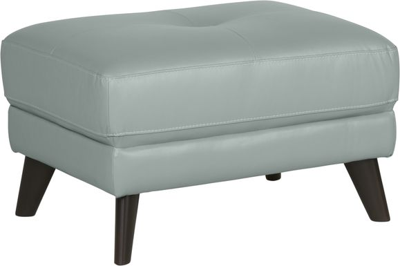 Sofia Vergara Gabriele Spa Blue Leather Ottoman