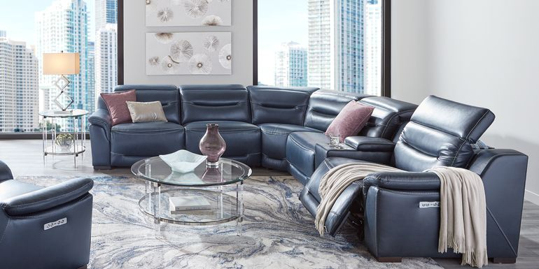 Sofia Vergara Gallia Way Navy Leather 7 Pc Dual Power Sectional Living Room
