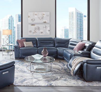 Sofia Vergara Gallia Way Navy Leather 9 Pc Dual Power Sectional Living Room