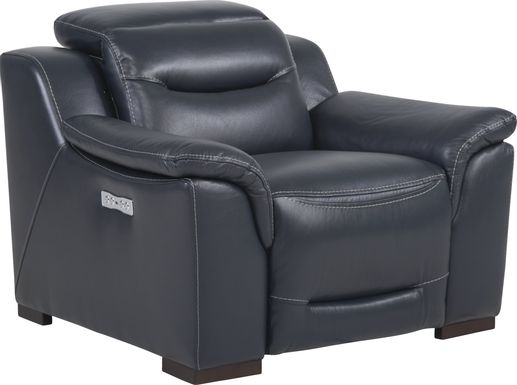 Sofia Vergara Gallia Way Navy Leather Dual Power Recliner