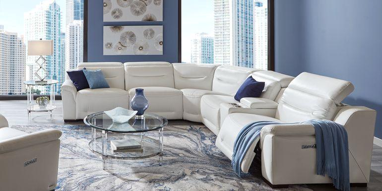 Sofia Vergara Gallia Way White Leather 7 Pc Dual Power Sectional Living Room