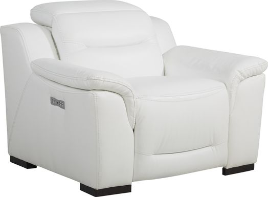 Sofia Vergara Gallia Way White Leather Dual Power Recliner