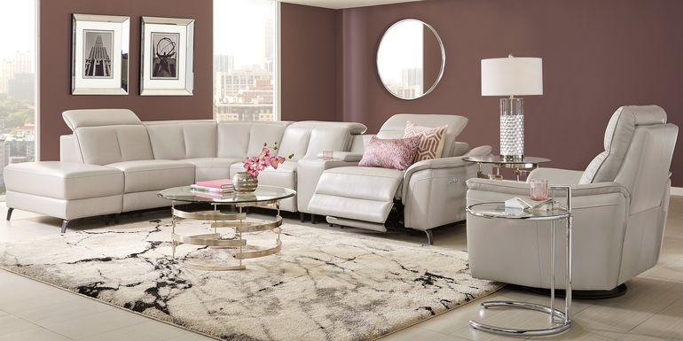 Sofia Vergara Naples Light Gray Leather 9 Pc Dual Power Reclining Sectional Living Room