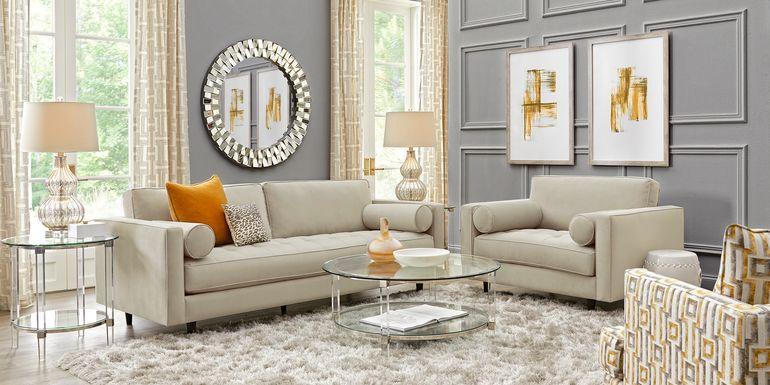 Sofia Vergara Pacific Palisades Beige Plush 5 Pc Living Room