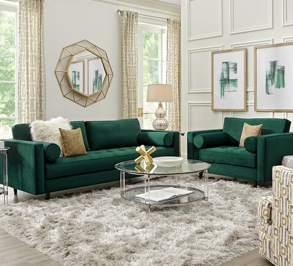 Sofia Vergara Pacific Palisades Emerald Plush 2 Pc Living Room