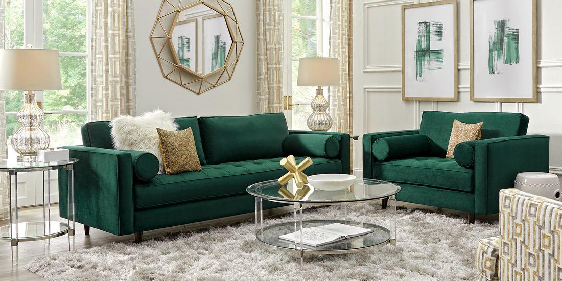 plush 2 piece emerald living room seating set
