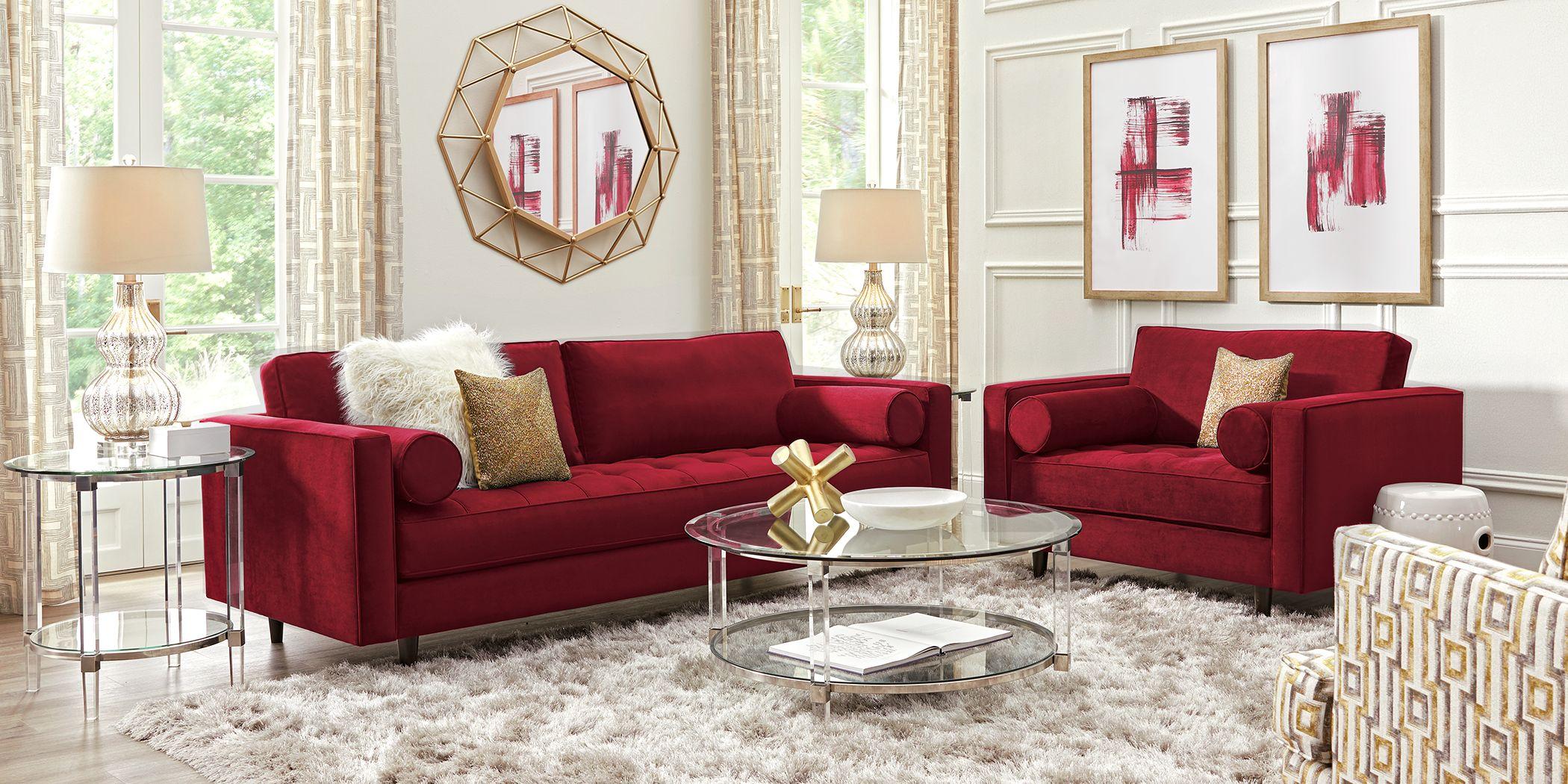 Sofia Vergara Pacific Palisades Scarlet Plush 5 Pc Living Room