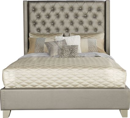Sofia Vergara Paris Silver 3 Pc Upholstered King Bed