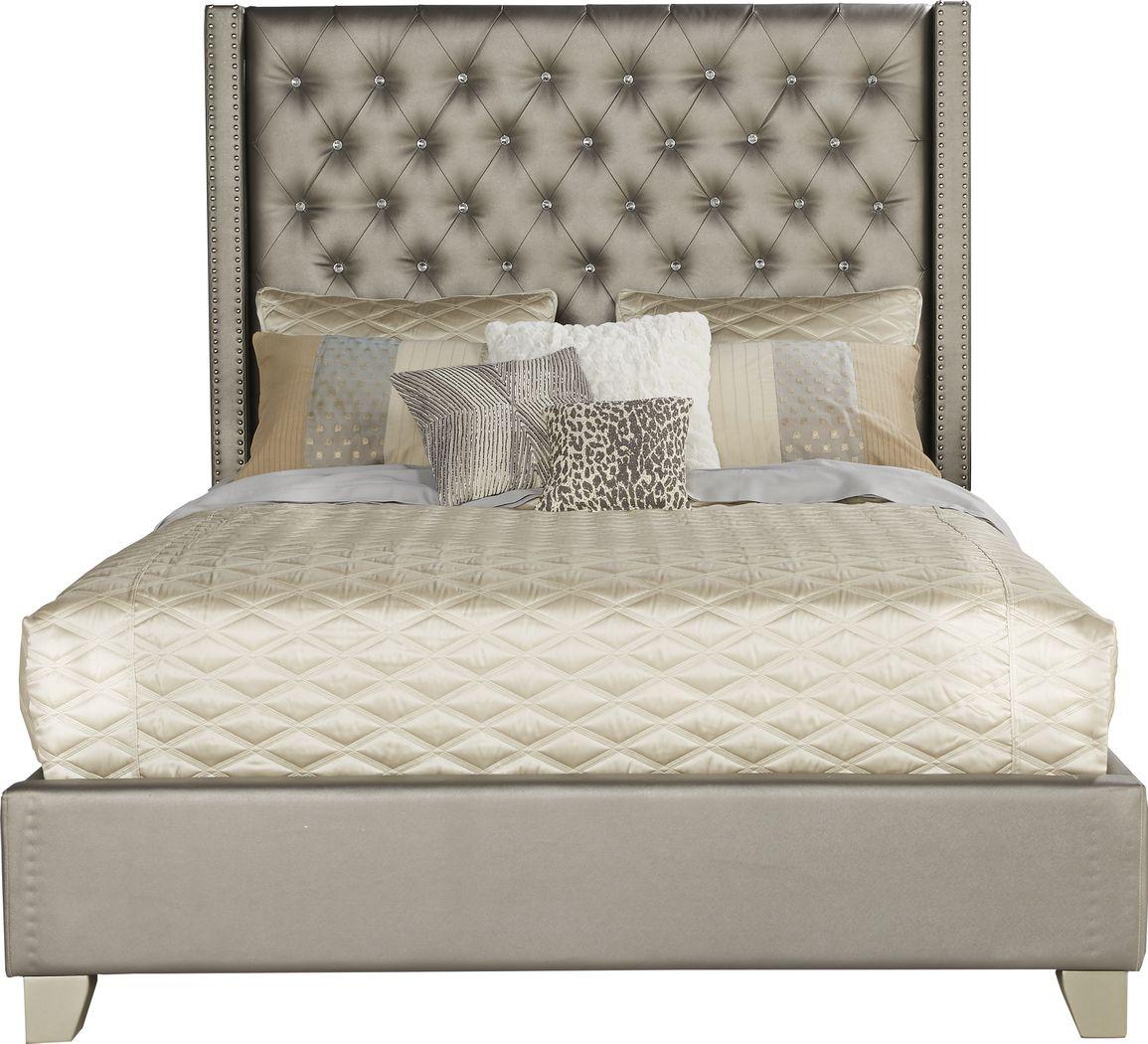 Sofia Vergara Paris Silver 3 Pc Upholstered Queen Bed