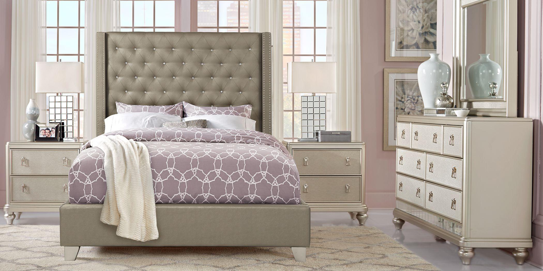 Sofia Vergara Paris Silver 5 Pc King Upholstered Bedroom