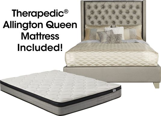 Sofia Vergara Paris Silver 5 Pc Upholstered Queen Bed and Mattress Set