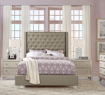 Sofia Vergara Paris Silver 7 Pc King Upholstered Bedroom