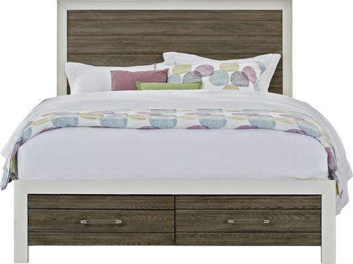 Sofia Vergara Santa Fiora White 3 Pc King Panel Bed with Storage