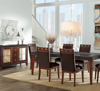 Sofia Vergara Savona Chocolate 5 Pc Rectangle Dining Room with Wood Top Chairs