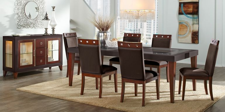Sofia Vergara Savona Chocolate 5 Pc Rectangle Dining Room with Wood Top Chairs