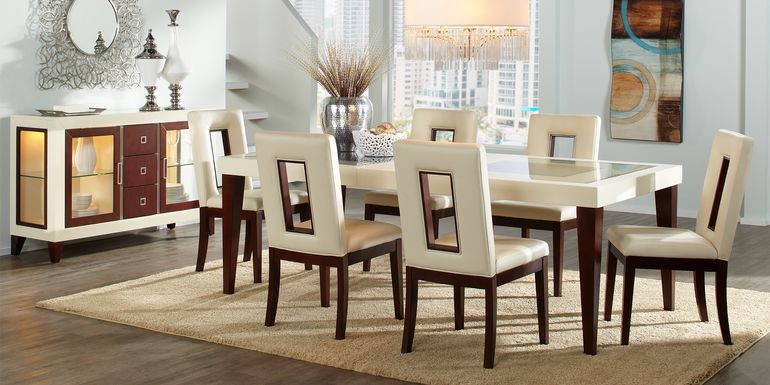 Sofia Vergara Savona Ivory 5 Pc Rectangle Dining Room with Open Back Chairs