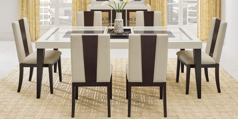 Sofia Vergara Savona Ivory 5 Pc Rectangle Dining Room with Wood Back Chairs