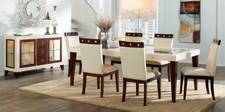 Sofia Vergara Savona Ivory 5 Pc Rectangle Dining Room with Wood Top Chairs