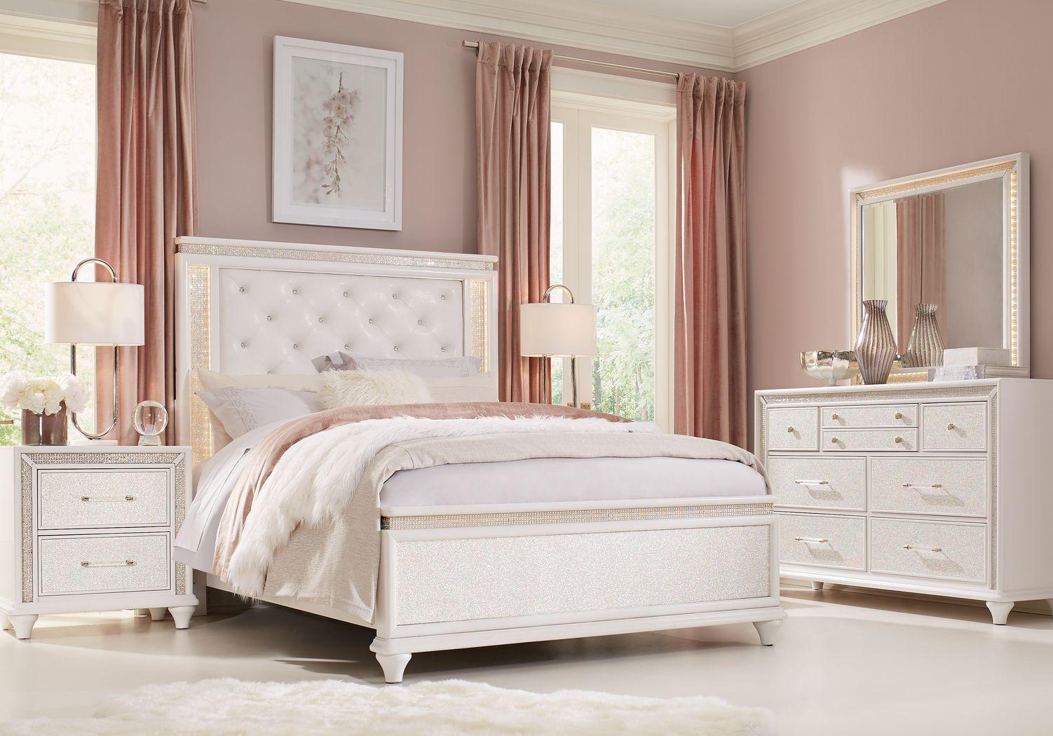 Sofia Vergara Vegas White 7 Pc King Panel Bedroom