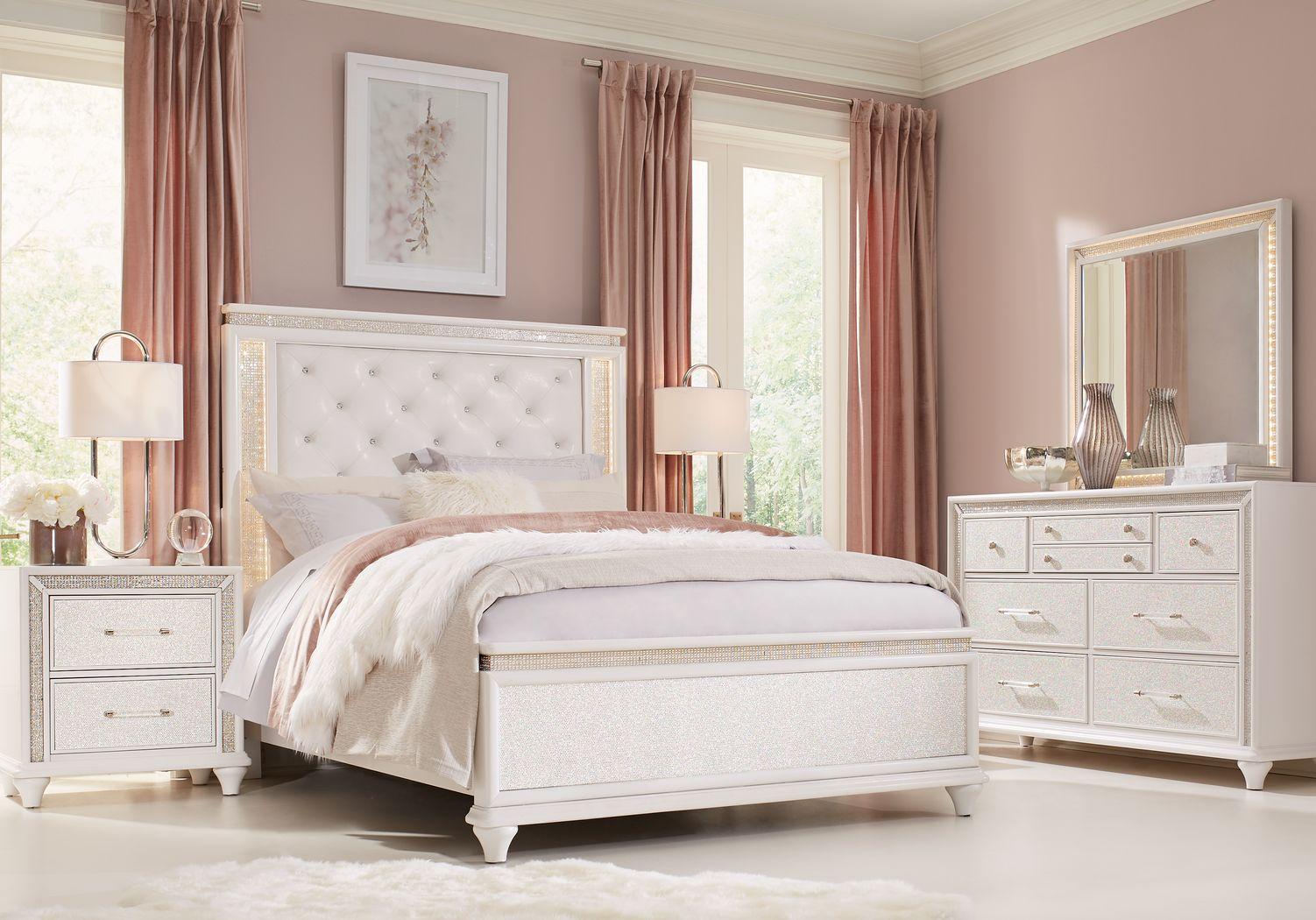 Sofia Vergara Vegas White 7 Pc Queen Panel Bedroom