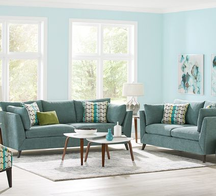 Sofia Vergara West Loft Teal 6 Pc Living Room