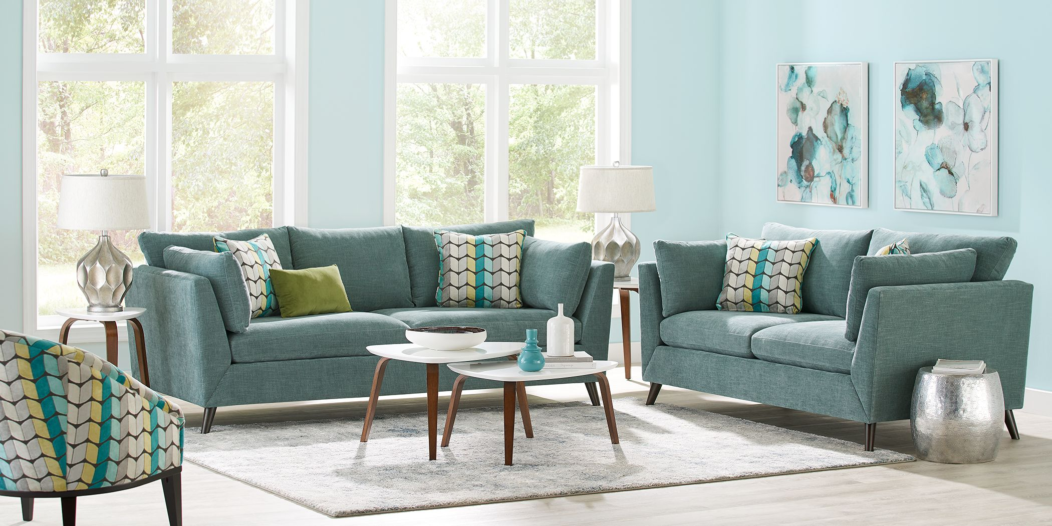 Sofia Vergara West Loft Teal 6 Pc Living Room