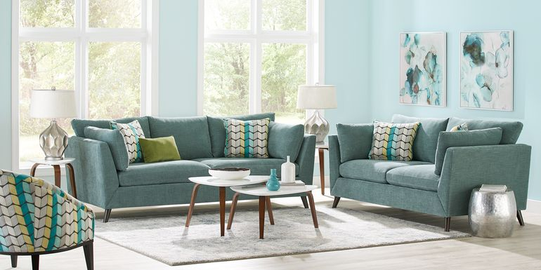 Sofia Vergara West Loft Teal 5 Pc Living Room