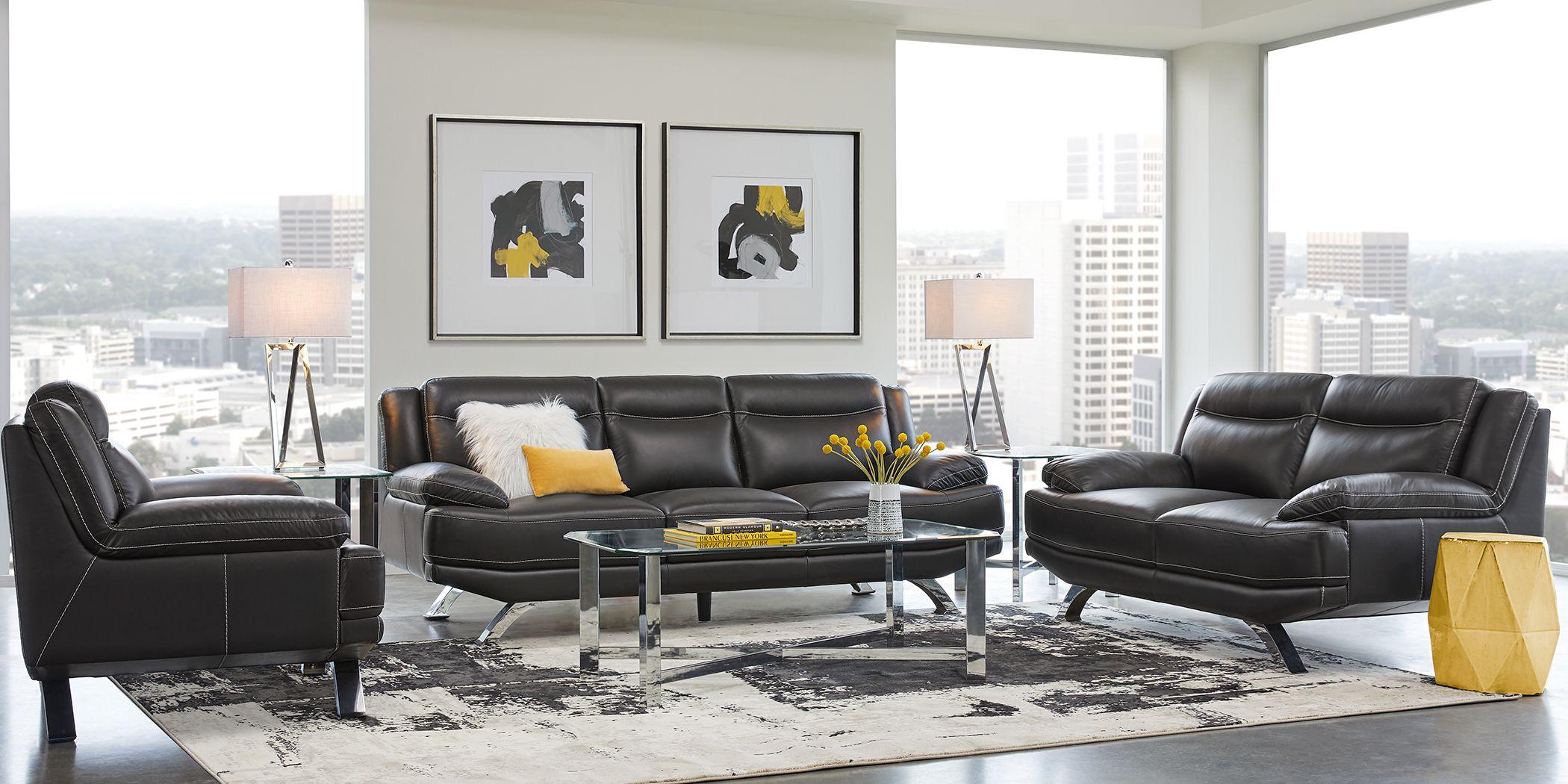 Sofia Vergara Zamora Black Leather 3 Pc Living Room