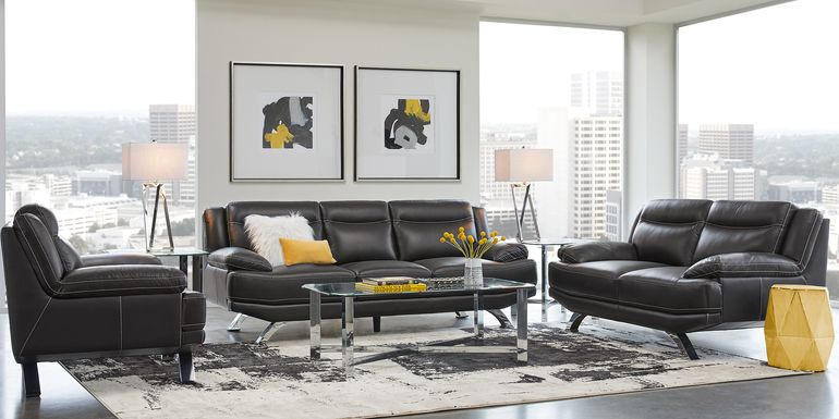 Sofia Vergara Zamora Black Leather 3 Pc Living Room