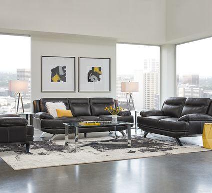 Sofia Vergara Zamora Black Leather 5 Pc Living Room