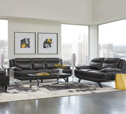 Sofia Vergara Zamora Black Leather 7 Pc Living Room