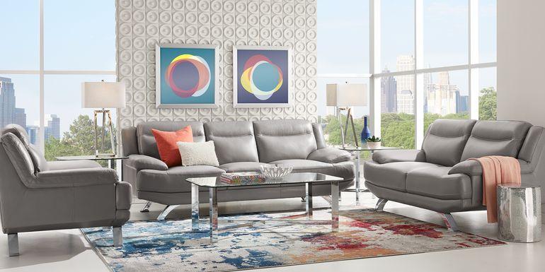 Sofia Vergara Zamora Gray Leather 3 Pc Living Room