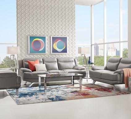 Sofia Vergara Zamora Gray Leather 5 Pc Living Room