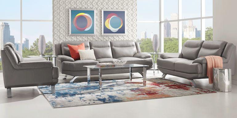 Sofia Vergara Zamora Gray Leather 7 Pc Living Room