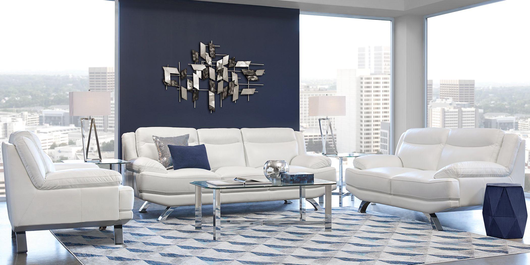 Sofia Vergara Zamora White Leather 3 Pc Living Room