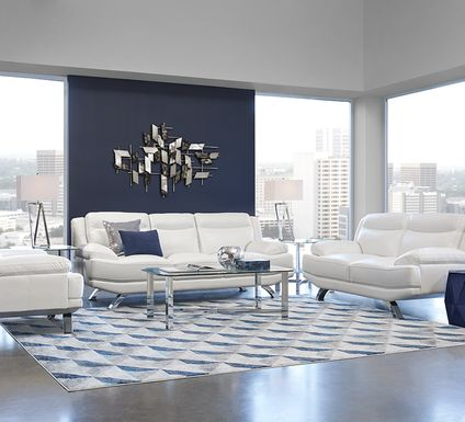 Sofia Vergara Zamora White Leather 3 Pc Living Room
