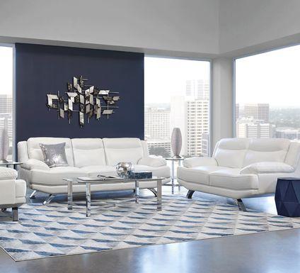 Sofia Vergara Zamora White Leather 7 Pc Living Room