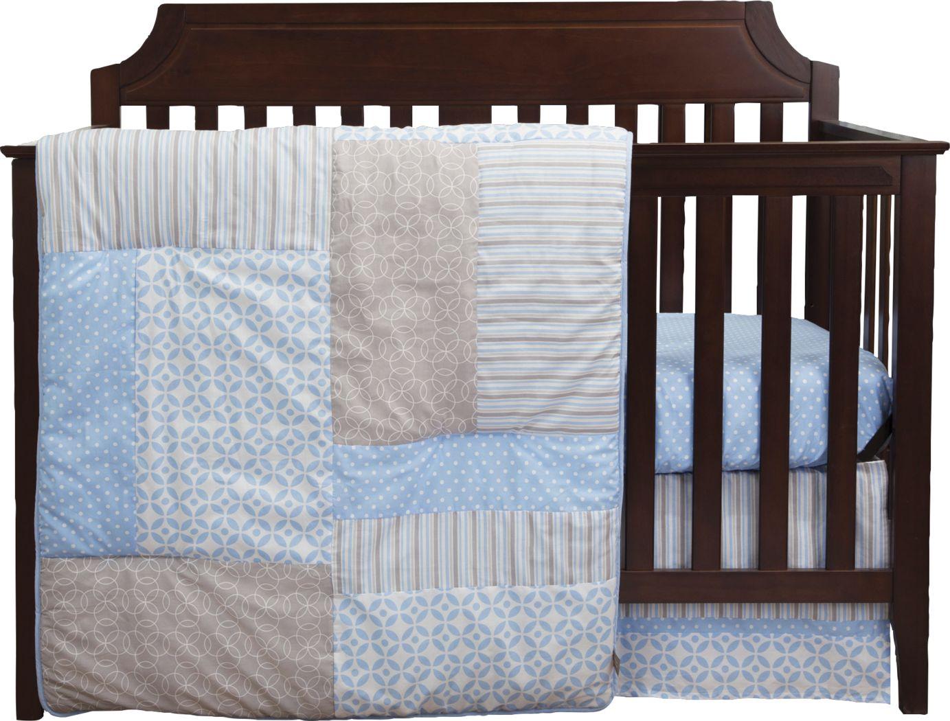 Soft Lullabies Blue 3 Pc Baby Bedding Set