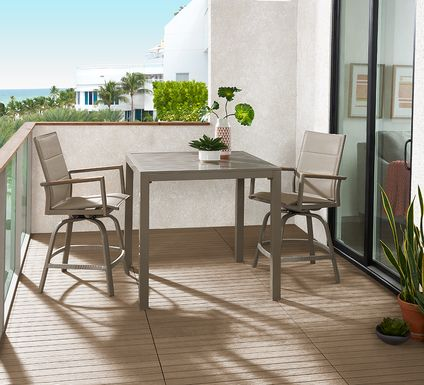 Solana Taupe 3 Pc Outdoor Balcony Dining Set with Swivel Stools