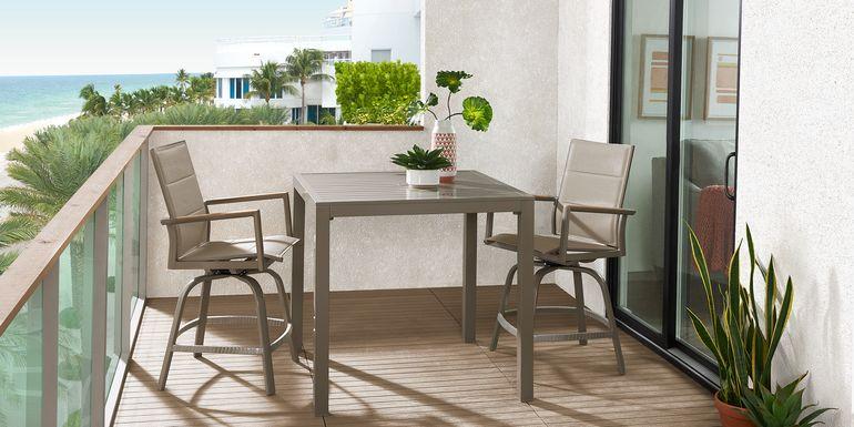 Solana Taupe 3 Pc Outdoor Balcony Dining Set with Swivel Stools