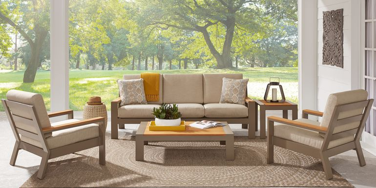 Solana Taupe 4 Pc Outdoor Seating Set with Beige Cushions