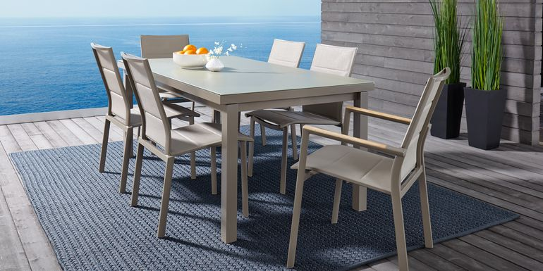 Solana Taupe 5 Pc 70 in. Rectangle Outdoor Dining Set