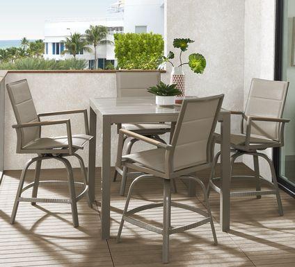 Solana Taupe 5 Pc Outdoor Balcony Dining Set with Swivel Stools