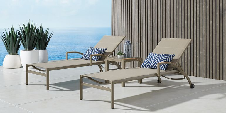 Solana Taupe Outdoor Chaises, Set of 2