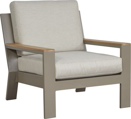 Solana Taupe Outdoor Club Chair with Beige Cushions