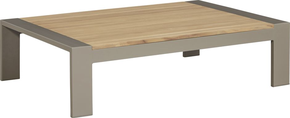Solana Taupe Outdoor Cocktail Table with Teak Top