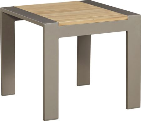 Solana Taupe Outdoor End Table with Teak Top