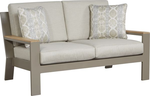 Solana Taupe Outdoor Loveseat with Beige Cushions