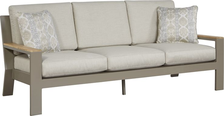 Solana Taupe Outdoor Sofa with Beige Cushions